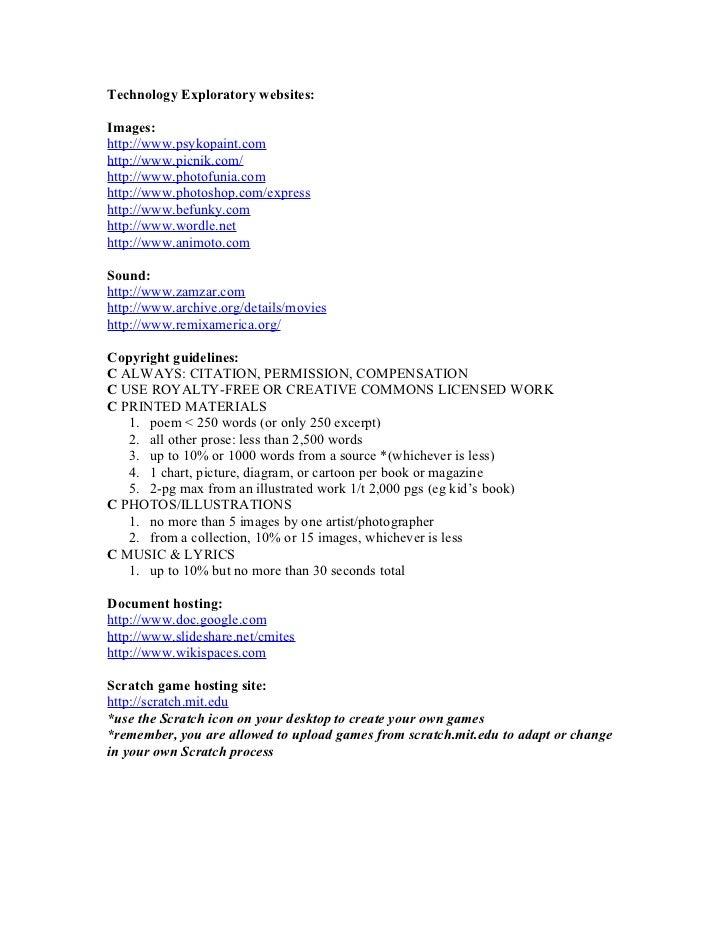 Technology Exploratory websites:  Images: http://www.psykopaint.com http://www.picnik.com/ http://www.photofunia.com http:...