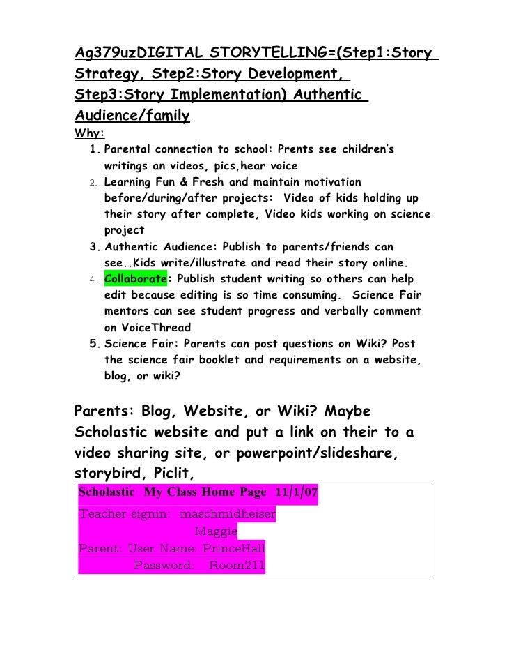 Ag379uzDIGITAL STORYTELLING=(Step1:Story Strategy, Step2:Story Development, Step3:Story Implementation) Authentic Audience...