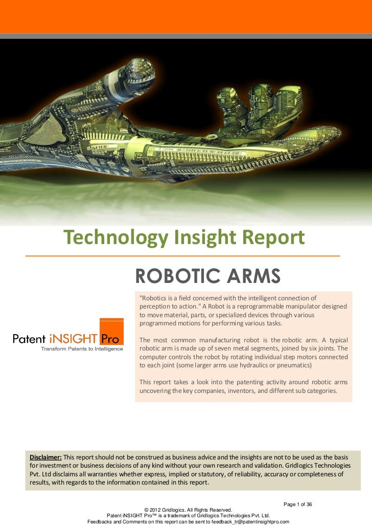 """Technology Insight Report                                        ROBOTIC ARMS                                          """"Ro..."""