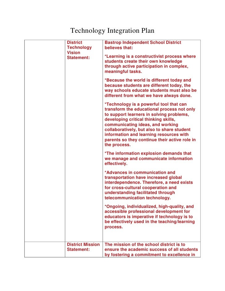 Technology Integration Plan<br />District Technology Vision Statement:Bastrop Independent School District believes that: *...
