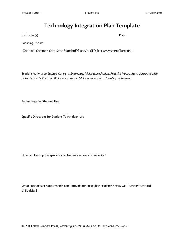 Technology Integration Plan Template