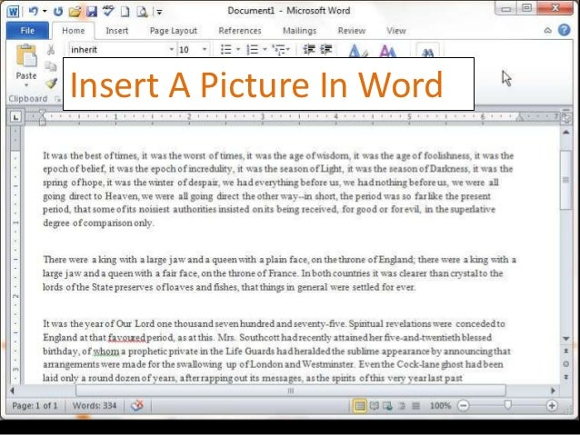 Insert A Picture In Word