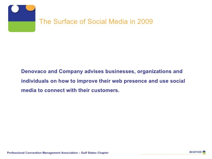 The Surface of Social Media in 2009 Denovaco and Company advises businesses, organizations and individuals on how to impro...