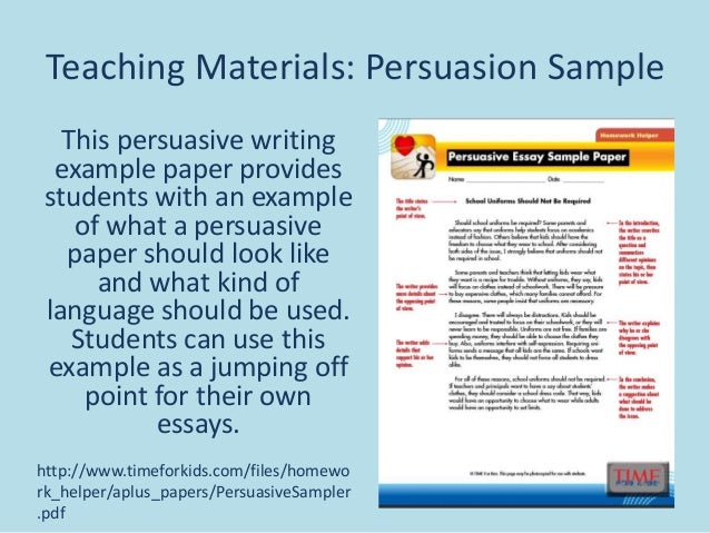 persuasive essay writing  asivewritingtransfertechniquespdf  teaching materials persuasion  sample this persuasive writing example paper