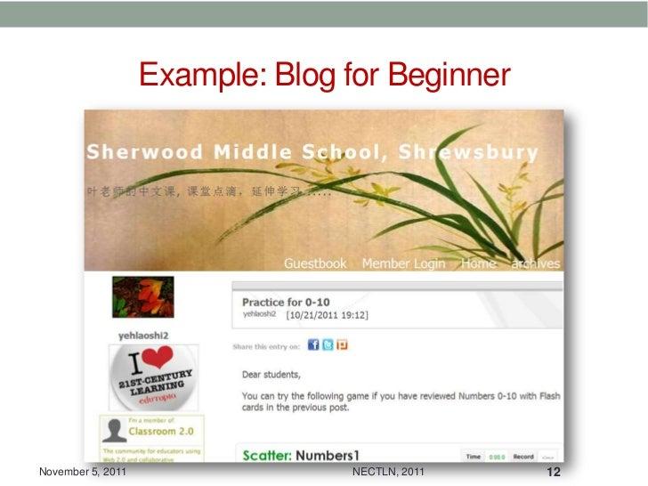 Example: Blog for BeginnerNovember 5, 2011                 NECTLN, 2011   12