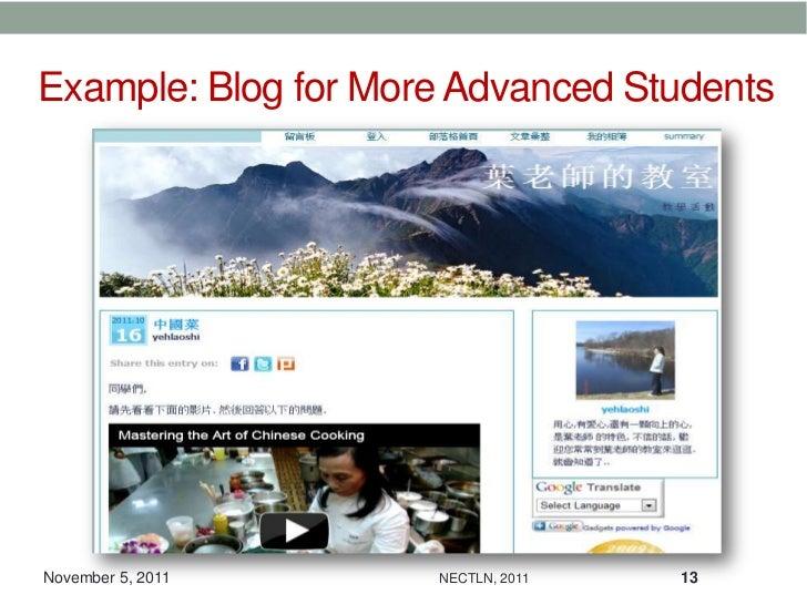 Example: Blog for More Advanced StudentsNovember 5, 2011     NECTLN, 2011   13
