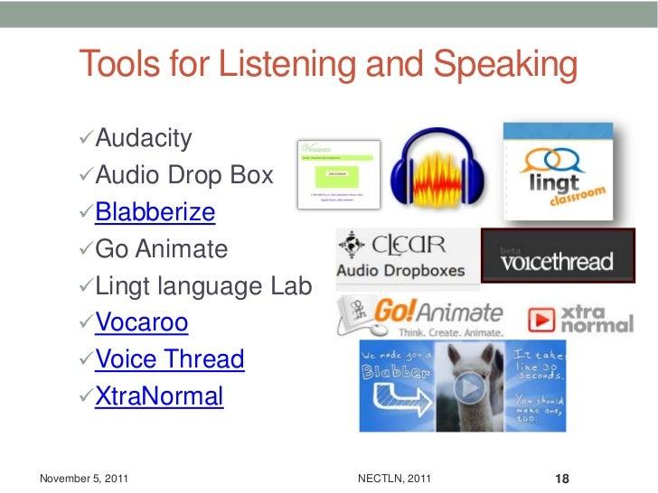 Tools for Listening and Speaking      Audacity      Audio Drop Box      Blabberize      Go Animate      Lingt languag...