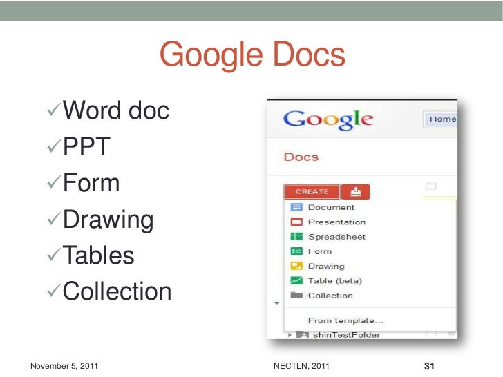 Google Docs   Word doc   PPT   Form   Drawing   Tables   CollectionNovember 5, 2011         NECTLN, 2011   31