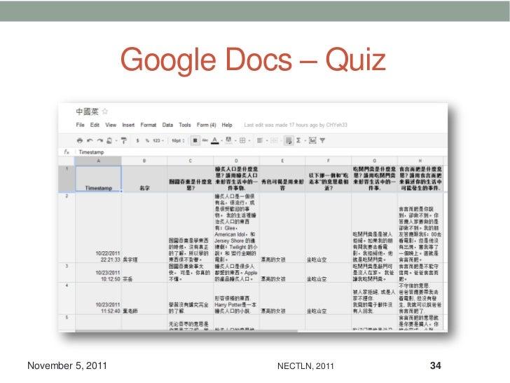 Google Docs – QuizNovember 5, 2011             NECTLN, 2011   34