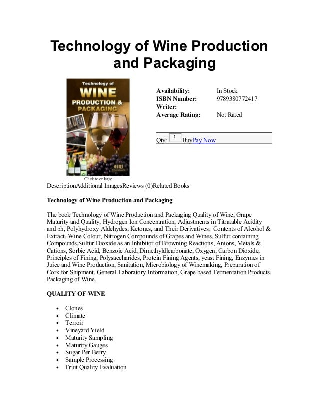 Technology of Wine Production and Packaging Click to enlarge Availability: In Stock ISBN Number: 9789380772417 Writer: Ave...