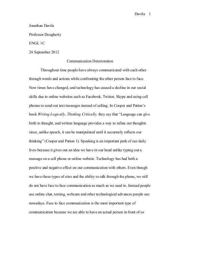 Technology in our society essays about life