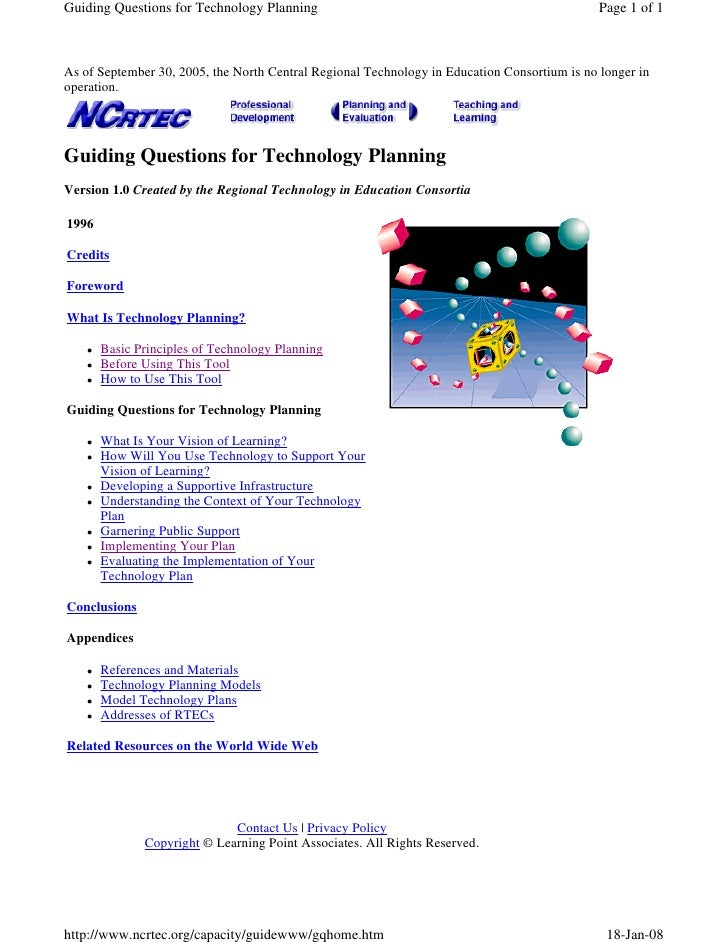 Guiding Questions for Technology Planning                                                     Page 1 of 1    As of Septemb...