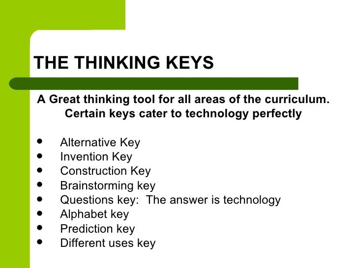 THE THINKING KEYSA Great thinking tool for all areas of the curriculum.    Certain keys cater to technology perfectly   A...