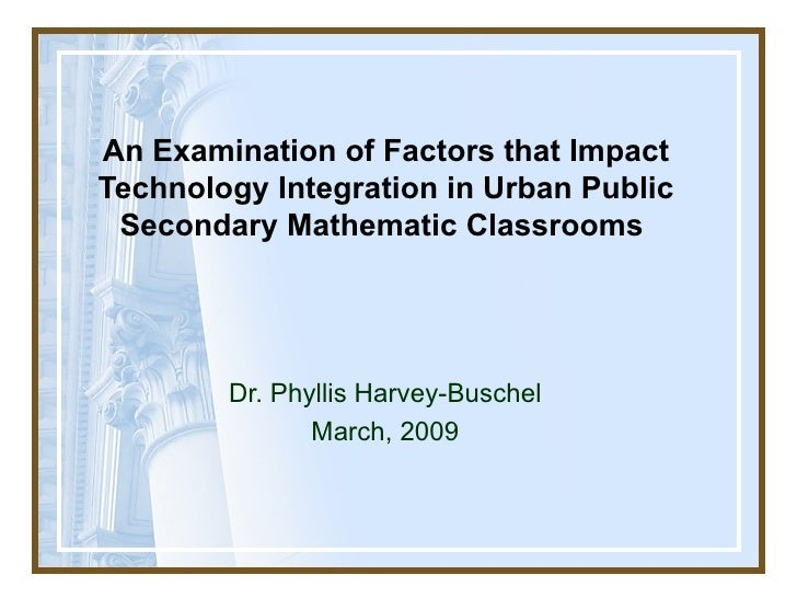 An Examination of  Factors that Impact Technology Integration in Urban Public Secondary Mathematic Classrooms  Dr. Phyllis...