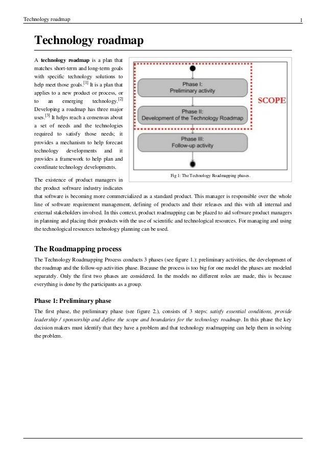 Technology roadmap 1Technology roadmapFig 1: The Technology Roadmapping phases.A technology roadmap is a plan thatmatches ...