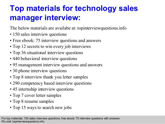 Technology sales manager interview questions and answers