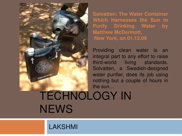 Solvatten: The Water Container            Which Harnesses the Sun to            Purify Drinking Water by            Matthe...