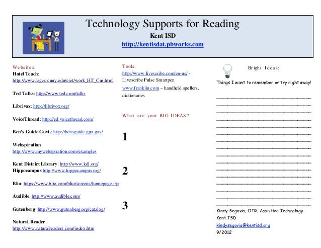 Technology Supports for Reading                                                                 Kent ISD                  ...