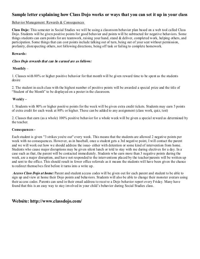 Sample letter explaining how Class Dojo works or ways that you can set it up in your class Behavior Management: Rewards & ...