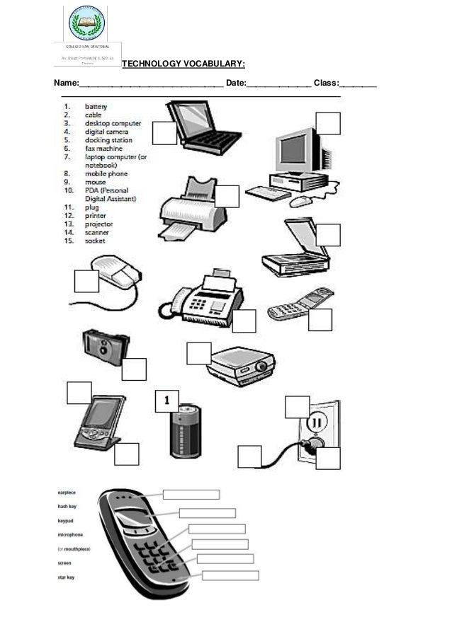 Technology vocabulary handout