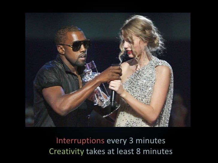 Interruptions every 3 minutes<br />Creativity takes at least 8 minutes<br />