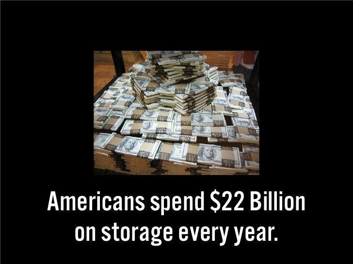 Americans spend $22 Billion   on storage every year.