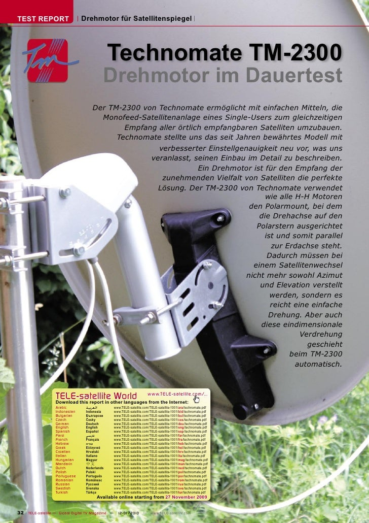 TEST REPORT                    Drehmotor für Satellitenspiegel                                                   Technomat...