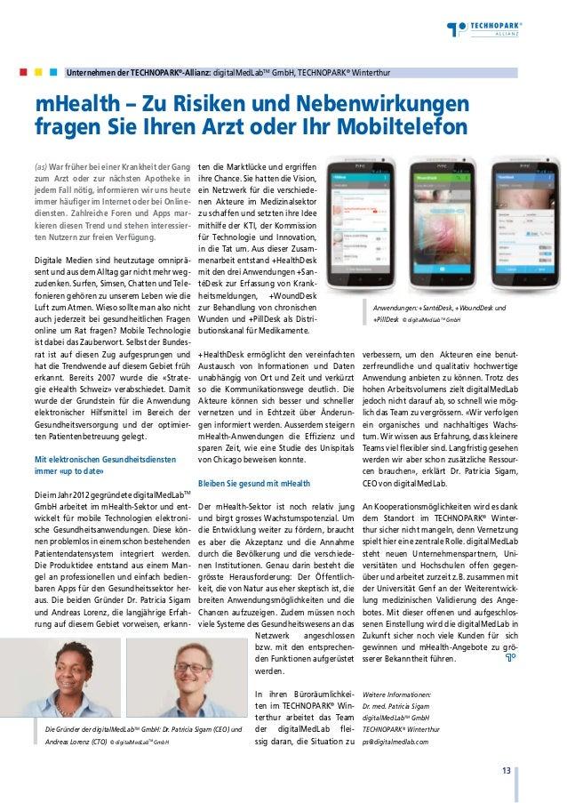 Unternehmen der TECHNOPARK®-Allianz: digitalMedLabTM GmbH, TECHNOPARK® Winterthur  mHealth – Zu Risiken und Nebenwirkunge...