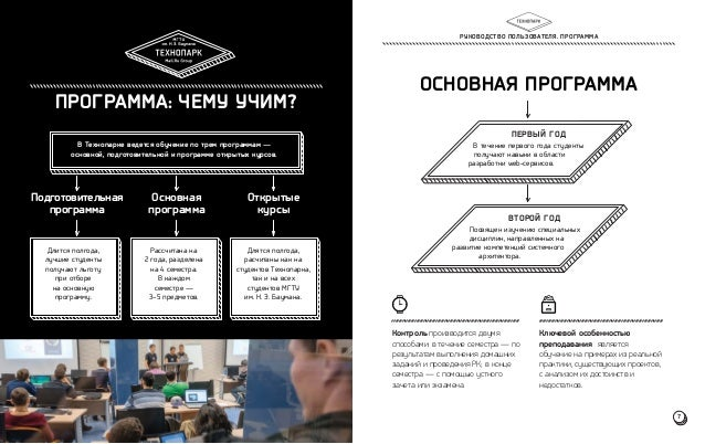 ПРОГРАММА: ЧЕМУ УЧИМ?  В Технопарке ведется обучение по трем программам —  основной, подготовительной и программе открытых...