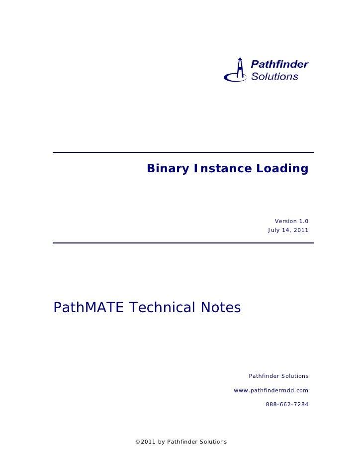 Binary Instance Loading                                                      Version 1.0                                  ...