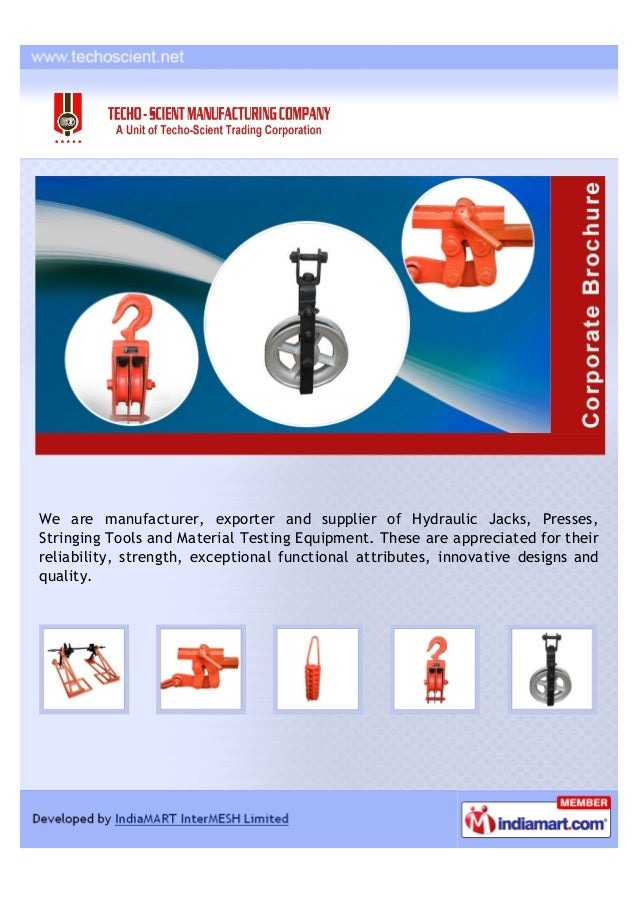 We are manufacturer, exporter and supplier of Hydraulic Jacks, Presses,Stringing Tools and Material Testing Equipment. The...