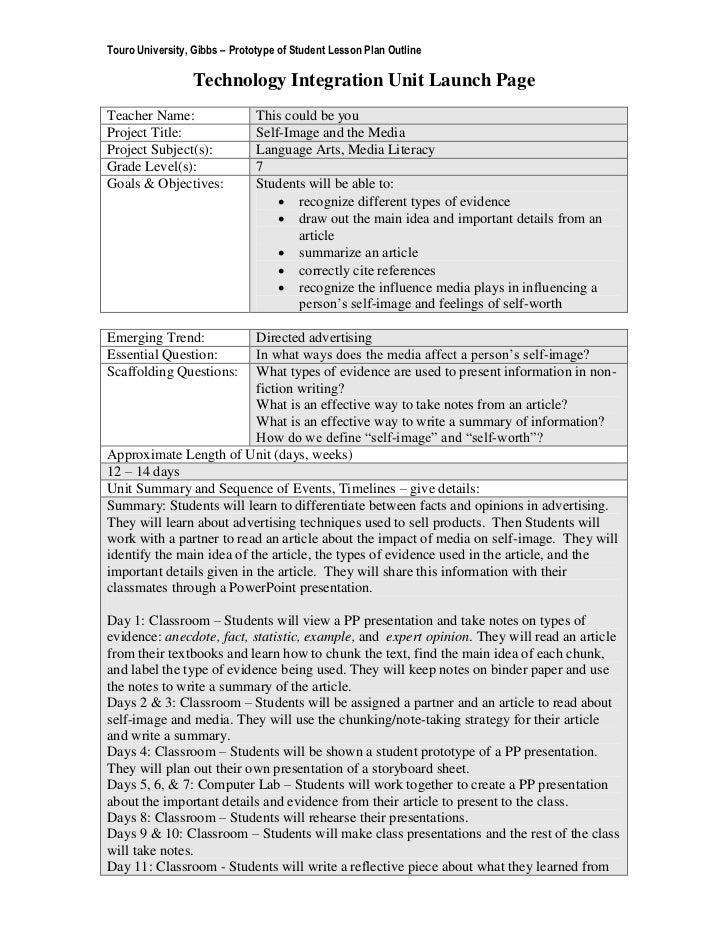 Touro University, Gibbs – Prototype of Student Lesson Plan Outline                 Technology Integration Unit Launch Page...