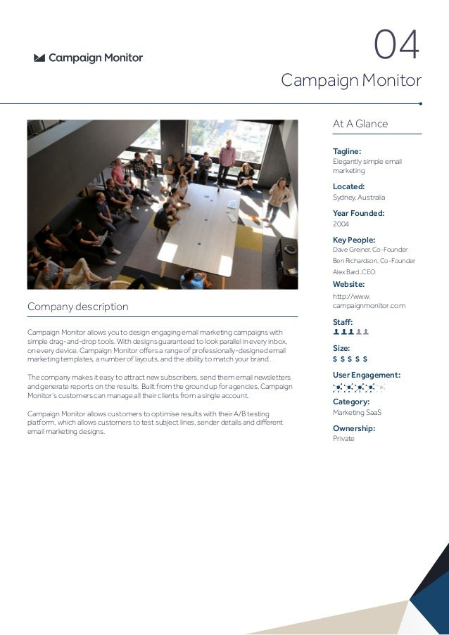04 Campaign Monitor At A Glance Tagline: Elegantly simple email marketing Located: Sydney, Australia Year Founded: 2004 Ke...