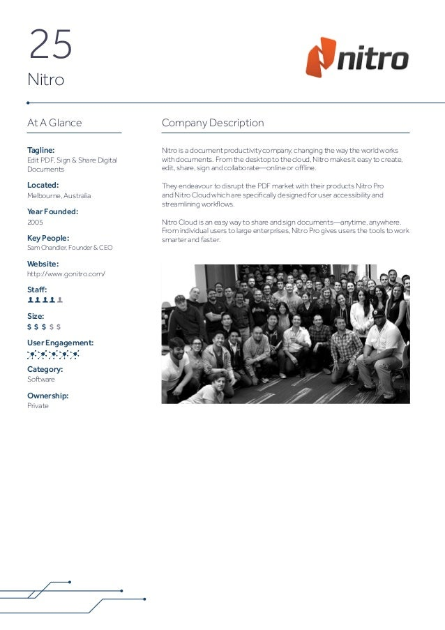 25 Nitro Company Description Nitro is a document productivity company, changing the way the world works with documents. Fr...
