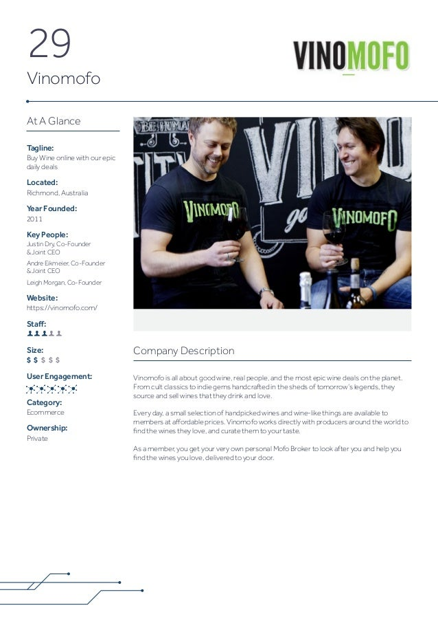 29 Vinomofo Company Description Vinomofo is all about good wine, real people, and the most epic wine deals on the planet. ...
