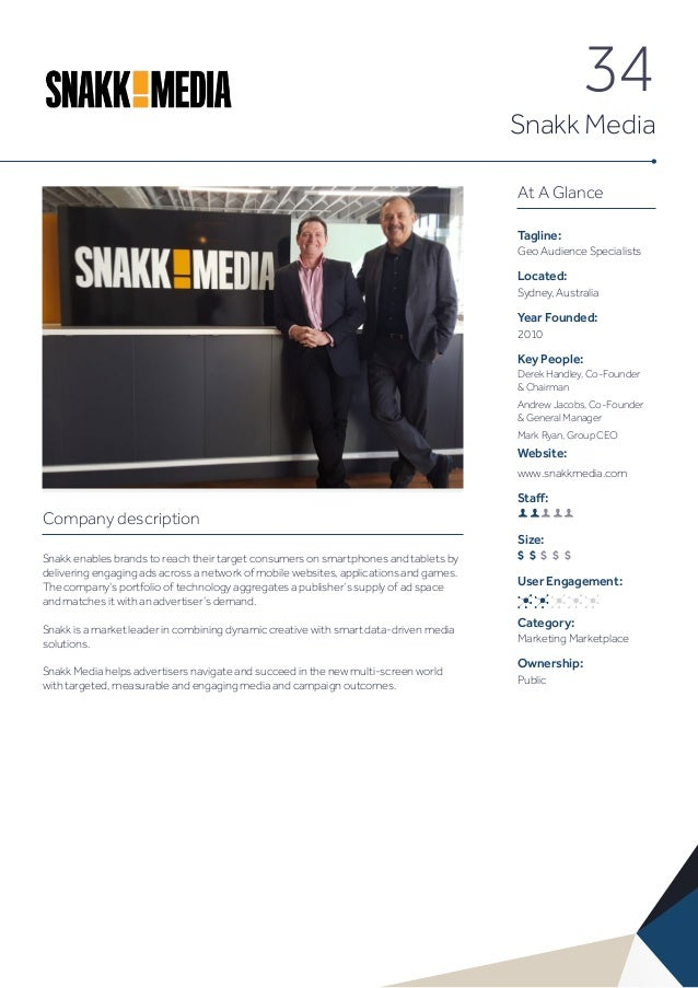 34 Snakk Media At A Glance Tagline: Geo Audience Specialists Located: Sydney, Australia Year Founded: 2010 Key People: Der...