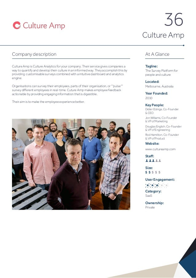 36 Culture Amp Company description Culture Amp is Culture Analytics for your company. Their service gives companies a way ...