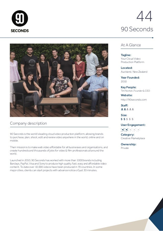 44 90 Seconds At A Glance Tagline: Your Cloud Video Production Platform Located: Auckland, New Zealand Year Founded: 2010 ...
