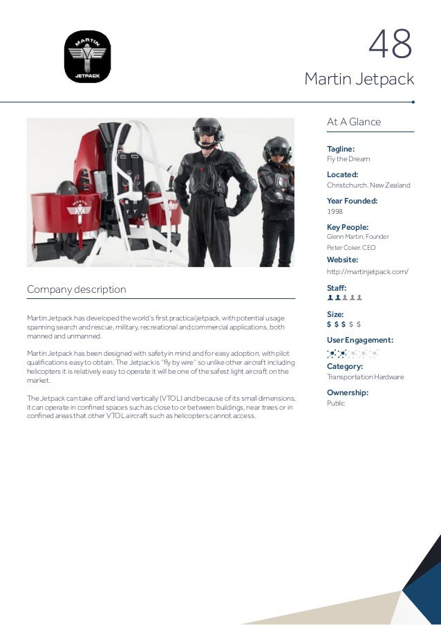 48 Martin Jetpack Company description Martin Jetpack has developed the world's first practical jetpack, with potential usa...