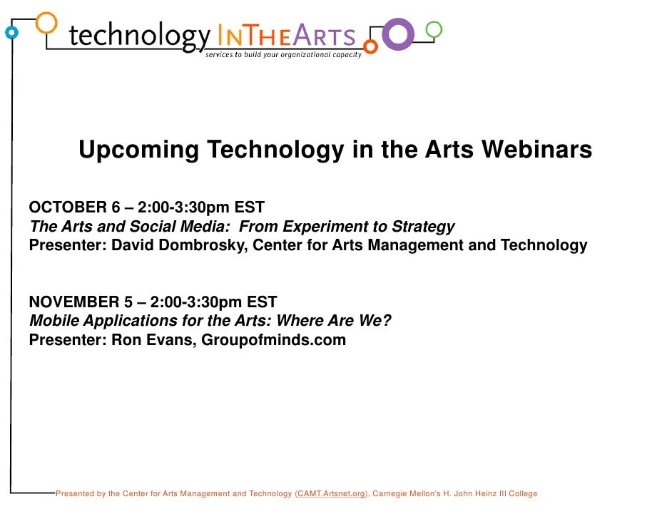 Technology Planning for Arts Managers Slide 2