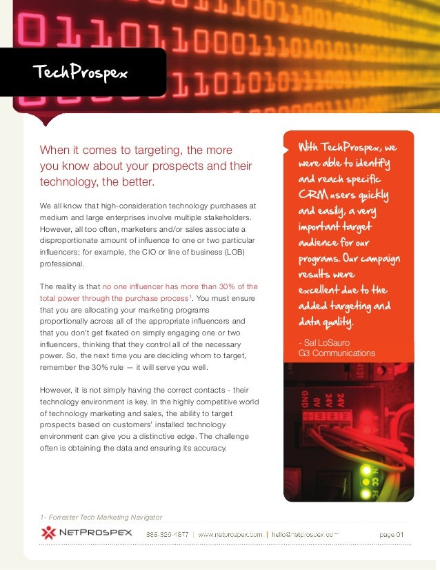 TechProspexWhen it comes to targeting, the more                             With TechProspex, weyou know about your prospe...