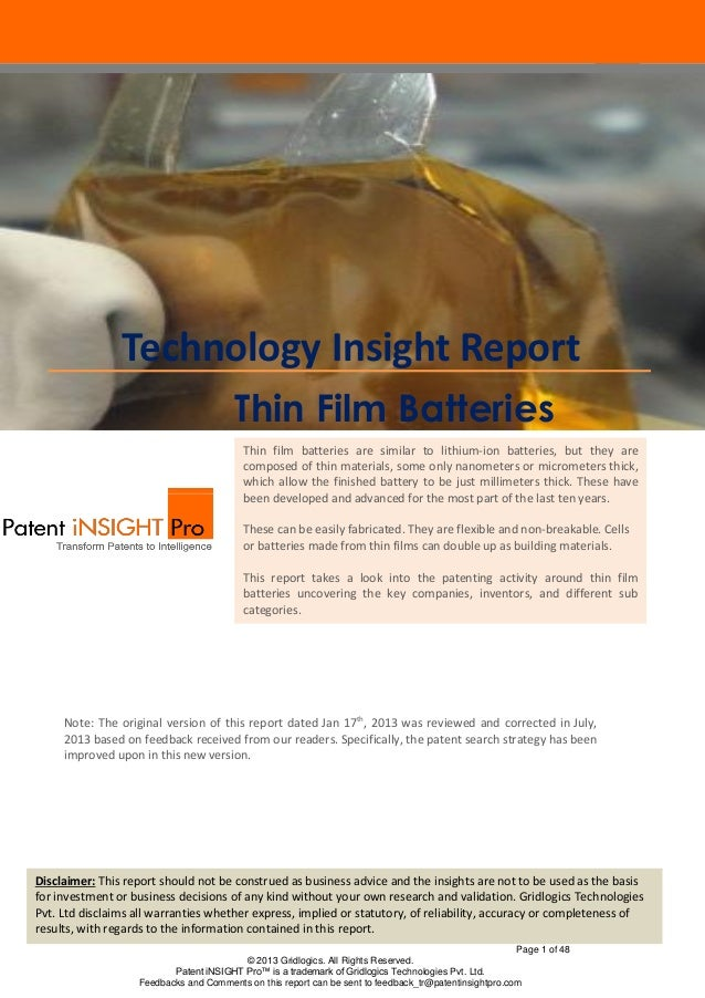 Page 1 of 48 © 2013 Gridlogics. All Rights Reserved. Patent iNSIGHT Pro™ is a trademark of Gridlogics Technologies Pvt. Lt...