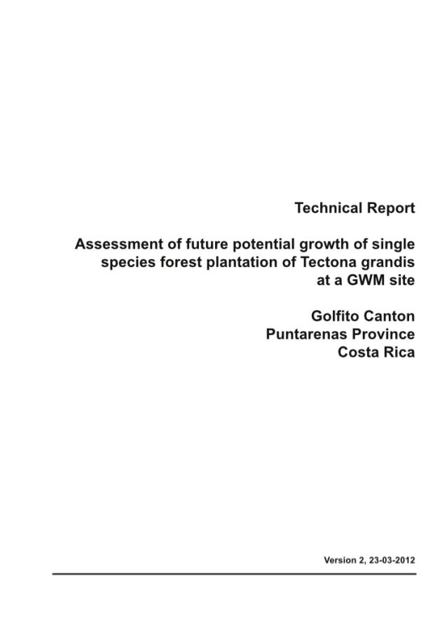 Greenwood Management Technical Forestry Report Teak