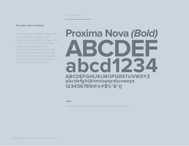 Proxima Nova (2005) bridges the gap between typefaces like Futura and Akzidenz Grotesk. The result is a hybrid that combin...