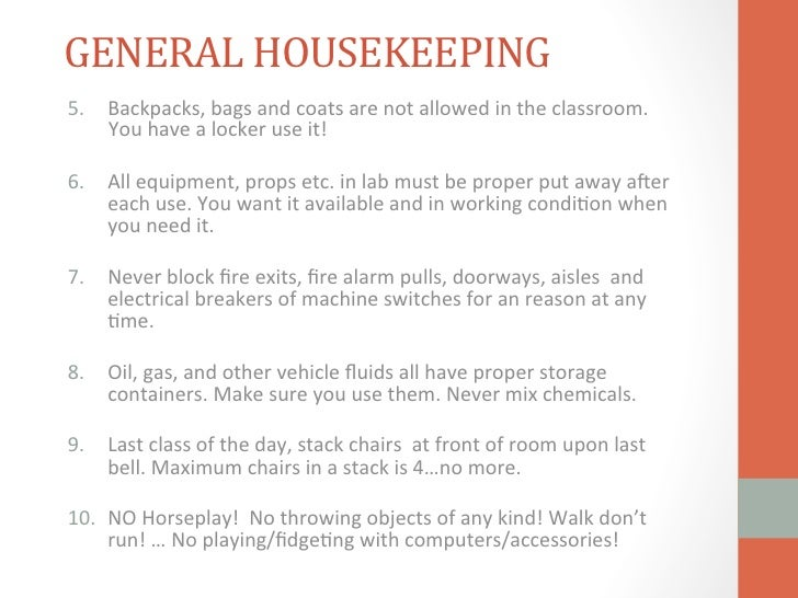 Conference Room Housekeeping Rules