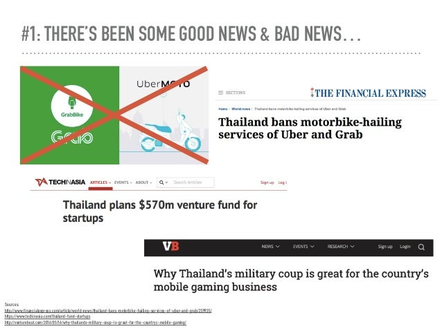 #1: THERE'S BEEN SOME GOOD NEWS & BAD NEWS… Sources: http://www.financialexpress.com/article/world-news/thailand-bans-mot...