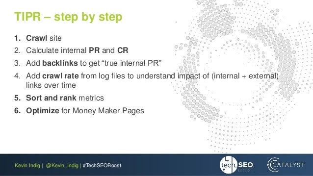 Kevin Indig | @Kevin_Indig | #TechSEOBoost TIPR – step by step 1. Crawl site 2. Calculate internal PR and CR 3. Add backli...