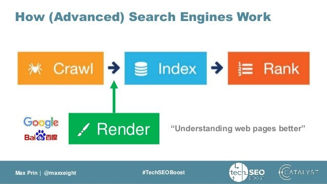 """Max Prin   @maxxeight #TechSEOBoost How (Advanced) Search Engines Work Render """"Understanding web pages better"""""""