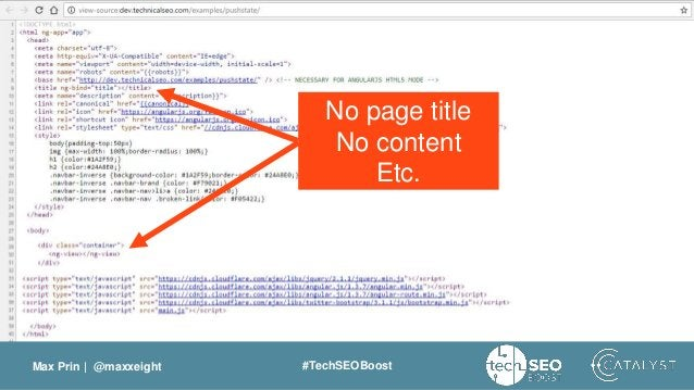 Max Prin   @maxxeight #TechSEOBoost No page title No content Etc.