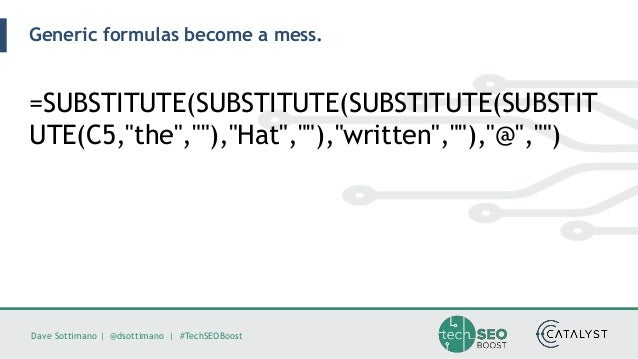 Dave Sottimano   @dsottimano   #TechSEOBoost Generic formulas become a mess. =SUBSTITUTE(SUBSTITUTE(SUBSTITUTE(SUBSTIT UTE...